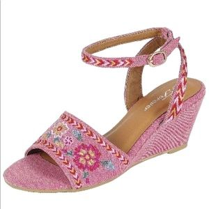 Floral Embroidery Buckle Ankle Strap Wedge Sandal